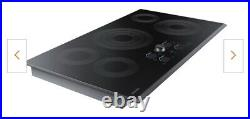 Samsung 36 NZ36K757ORG Electric Cooktop, Missing NobBLACK STAINLESS STEEL