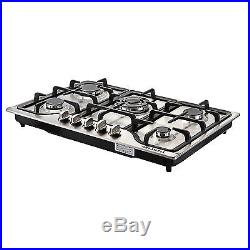 Silver 30 Stainless Steel 5 Burner Built-in Stoves NG/LPG Hob Cooktops Cookers