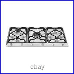 Smeg SRV596GH5 Cucina 5 Burner 90cm Wide Gas Hob With Cast Iron Pan Stands Stain