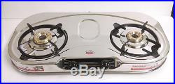 Stainless Steel Cooktop Hob Gas Stove Propane Lpg 2 Brass Burners Oval Shaped