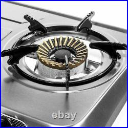 Stainless Steel Portable Propane LPG Gas Stove Double 2 Burner Cook Top