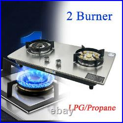 Stainless Steel Portable Propane LPG Gas Stove Double 2 Burner Kitchen Cook Top