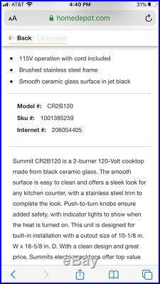 Summit CR2B120 12W 2 Burner Electric Cooktop