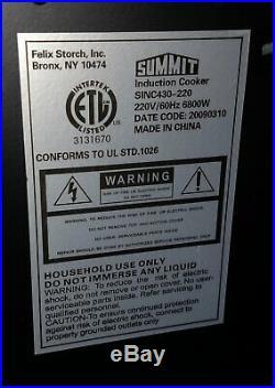 Summit SINC430-220 30 4-Burner Smoothtop Electric Induction Cooktop -black 220v