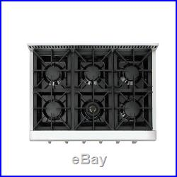 THOR KITCHEN 36 Gas Rangetop Cooktop Stainless Wall Oven, Four burner, HRT3618U
