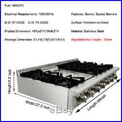 THOR KITCHEN 48 Gas Rangetop Cooktop 18,000BTU stainless steel Griddle HRT4806U