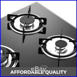 Tempered Glass 4 Burners Stove Gas Cooktop Multi-burners 24inch LPG & LNG Gas