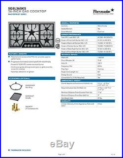 Thermador 36 SS Masterpiece Gas Cooktop SGSL365KS