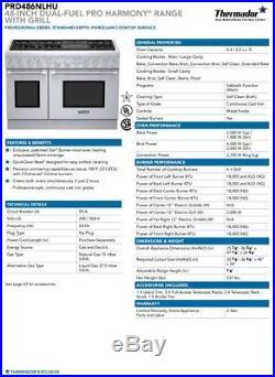 Thermador Harmony PRO Series Range 48 in 6 burner PRG486NLH Dual Fuel