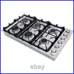 Thor 36 Inches Gas Cooktop 6 Burner Stainless Steel LPG Gas Hob Built In Cooker