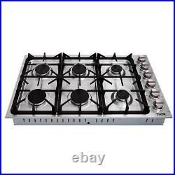 Thor 36 Inches Gas Cooktop 6 Burners Stainless Steel LPG Gas Hob Built In Cooker