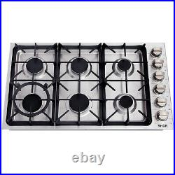 Thor Kitchen 36 Cooktop 6 Burner Stainless Steel Stove Gas NG/LPG Hob Cooker US