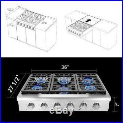 Thor Kitchen 36'' stainless steel 6 burner range top HRT3618U Free shipping