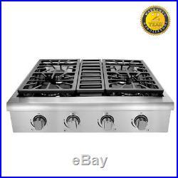 Thor Kitchen 4 Burner Gas Stove Range Top 30u0027u0027 Gas Grill Stainless Steel