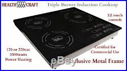 Triple-Burner Induction Cooktop Portable or Counter Inset 120 or 220vac