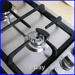 US 23Stainless Steel 4 Burner Gas Cooktop with NG/LPG Conversion Cook Top Stove