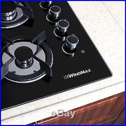 US Black 24 Built-in 4 Burners Gas Cooktop NG/LPG Hob Tempered Glass Cooktops