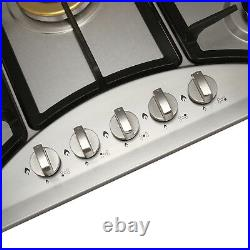 US Seller 30 inch Gas Cooktop 5 Burner Stainless Steel Top for Kitchen Cooker