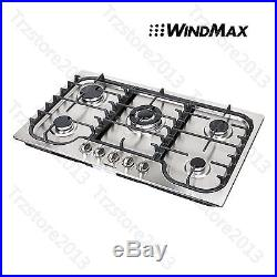 WindMax 34 Kitchen Stainless Steel 5 Burners Built-In Stoves Gas Cooktop Cooker