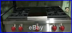 Wolf 36 Sealed Burner Rangetop 4 Burners and Infrared Charbroiler SRT364C